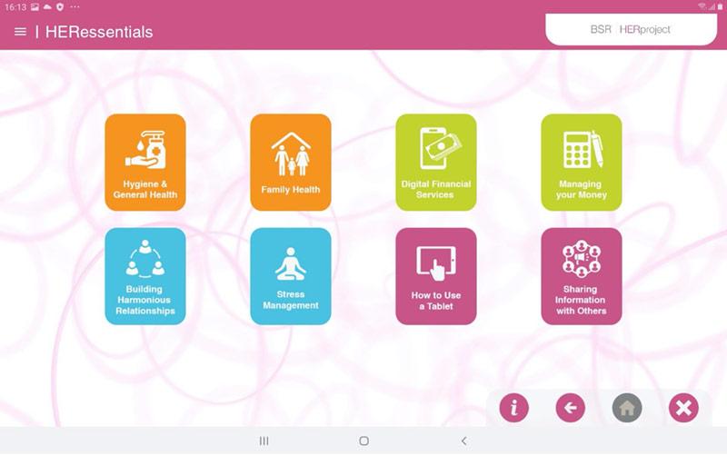 Screen capture of the HERessentials App